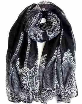 Black Crazy Lace Maxi Hijab