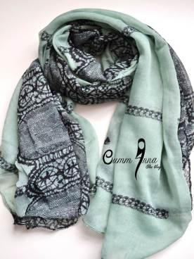 Mint Crazy Lace Maxi Hijab