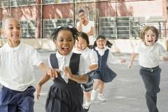 Children running in the playground