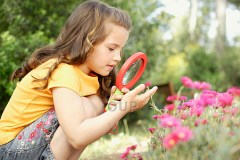 Girl Examining Flowers