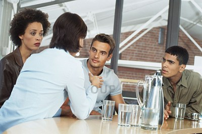 Group of adult students talking