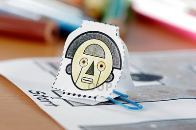 Close-up of robot head made of paper