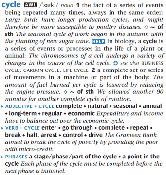 Cycle dictionary entry