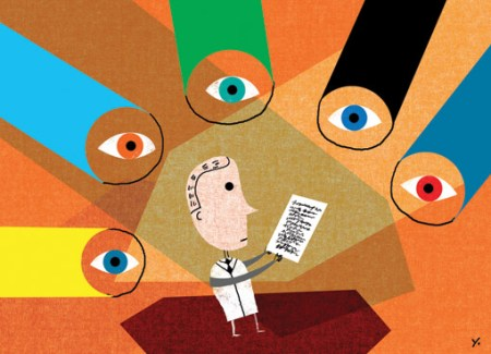 Illustration of lots of eyes looking at man holding paper