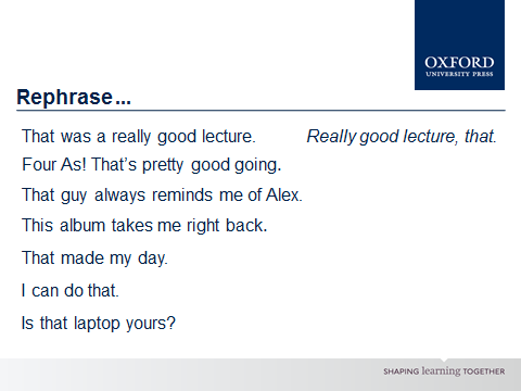 it s different spoken grammar oxford university press this syntactic aspect of spoken grammar is something that learners of english are very likely to come across outside the classroom