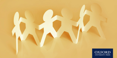 Cut-out paper-chain of children holding hands
