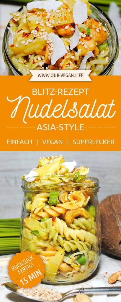 Schnelles Blitzrezept für Nudelsalat im Asia-Style vegan