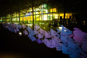 Fish swim by surround the European Convention Center Luxembourg (ECCL)