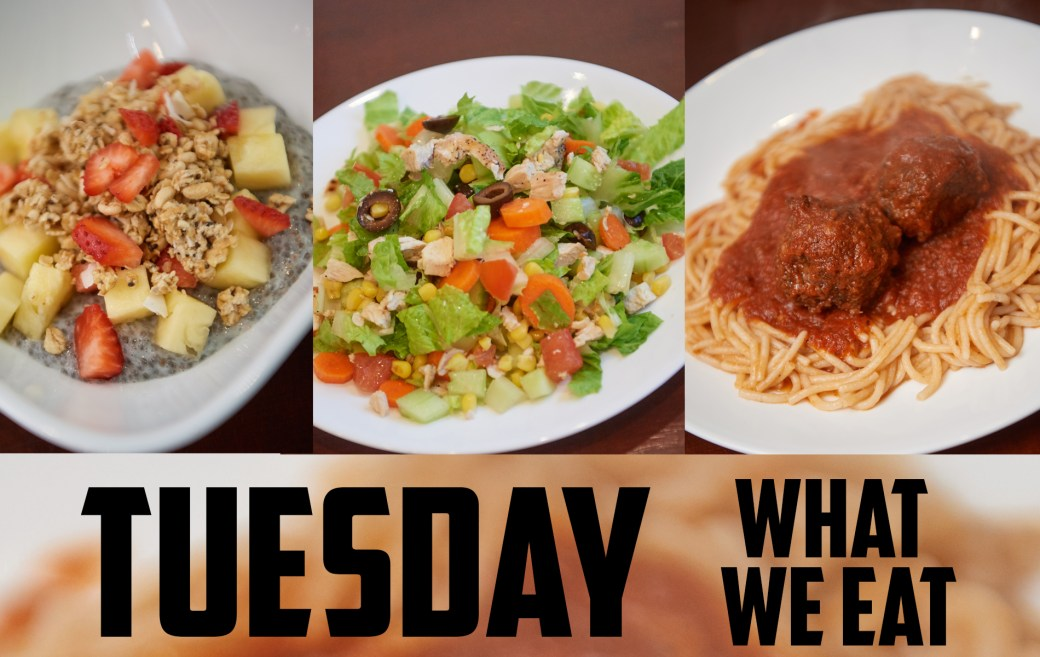 Chia Pudding, Salad, and Spaghetti and Meatballs (Allergy Free)