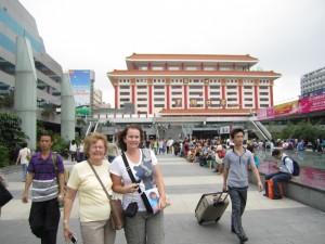Mum & I at Shenzhen Train Station in China