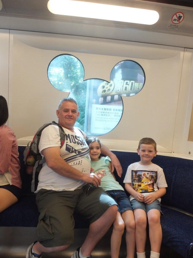 On the Disney themed train from Sunny Bay Station to Hong Kong Disneyland