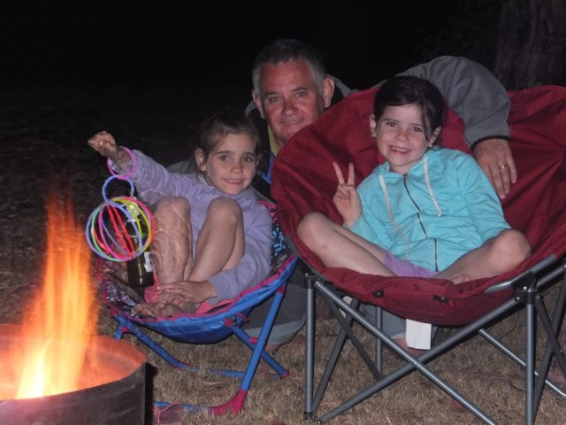 Enjoying the camp fire on New Years Eve.