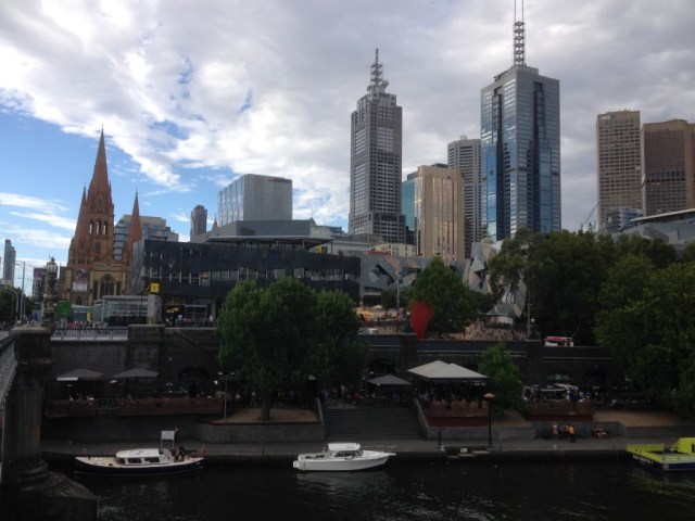 The Yarra River with fed Square in the background.