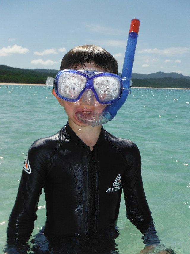 Caelan all ready to snorkel.