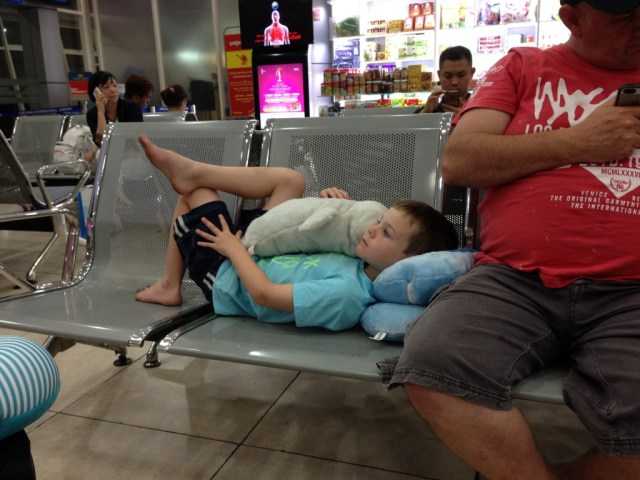 Watching cartoons in Vietnamese in Nha Trang Airport.