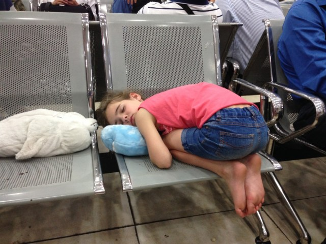 Kids will sleep anywhere!
