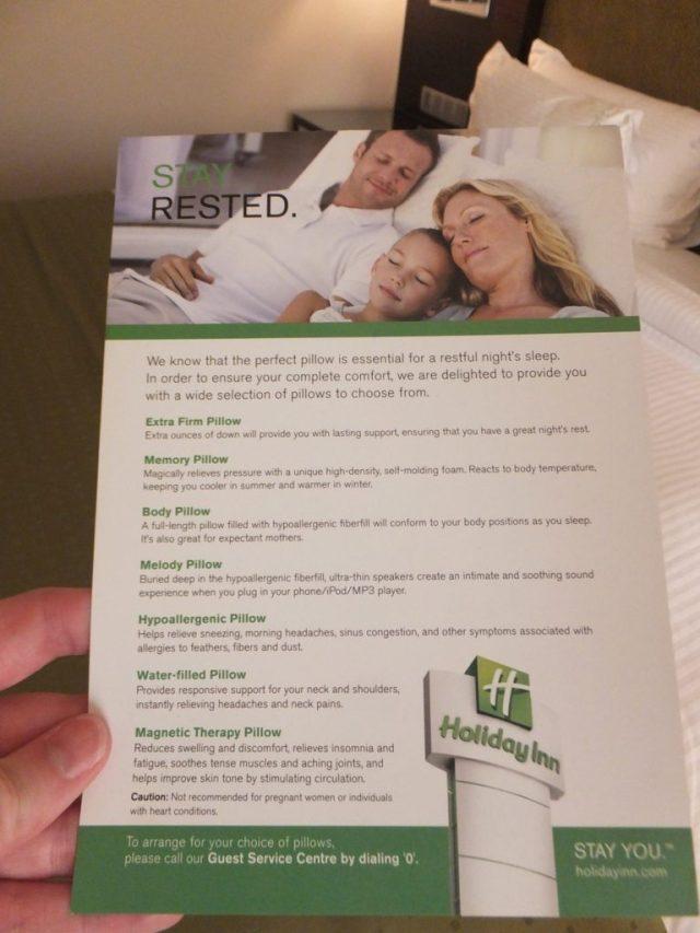 Pillow menu - Holiday Inn