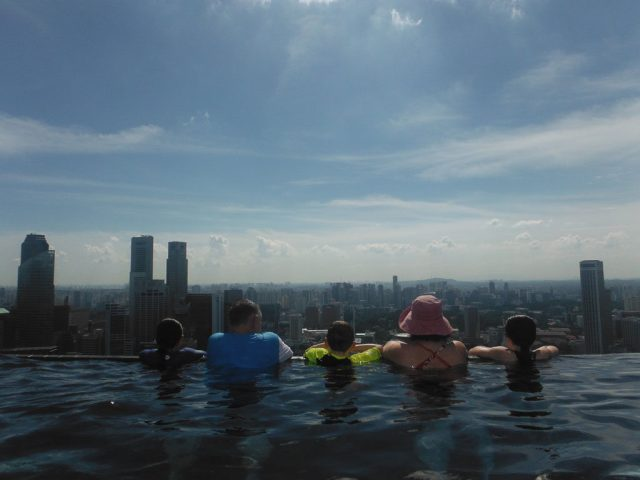 Here we are taking in the lovely view at Marina Bay Sands