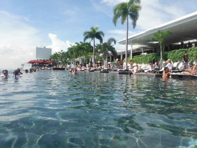 World famous infinity pool on the 57th floor of the Marina Bay Sands