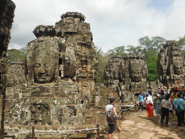 Distinctive faces everywhere you look at Angkor Thom