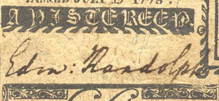 Edmund Randolph's signature on a piece of Virginia currency issued in 1775.