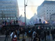 πορεία του Ριζοσπαστικού κόμματος. Μεταξύ των σημαιών διακρίνεται και σημαία της Νοβορωσίας