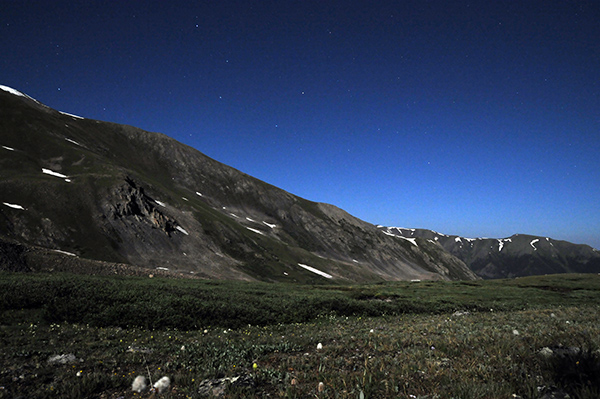 Night sky over the mountains