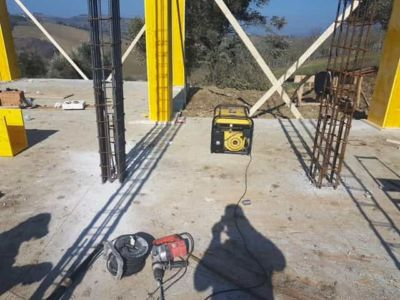 Steel Reinforcing Framework at new house construction site in Le Marche