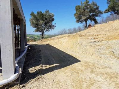 Front and Olive Trees at new house being constructed in Le Marche