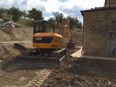 Grading Near the Kitchen at the site of new construction in Marche