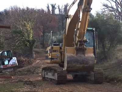Repairing the Driveway at new house construction site in Le Marche