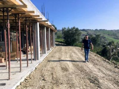 Indicating Edge of Portico at house being constructed in Le Marche
