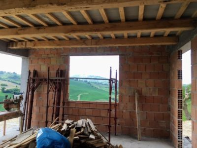 Kitchen under construction at a new house building site in Le Marche
