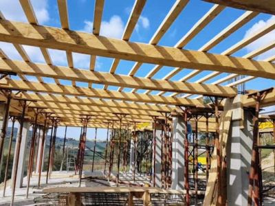 Main Room Beams In Place at new house construction in Le Marche
