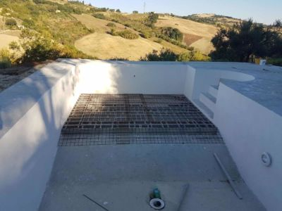 New Base Structure in Place for pool at new house being built in Le Marche Italy