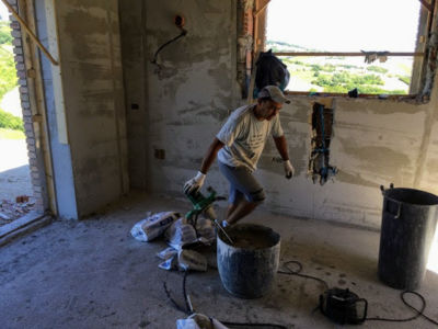 Plaster for the Kitchen of a new house being built in Le Marche
