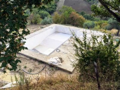 Pool From Above at a new building site in Le Marche, Italy