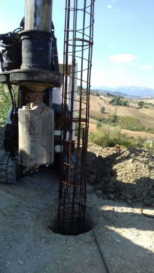Portico Column Steel in Place at a new house in Le Marche