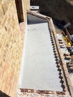 Roof of Master Bathroom Ready to Finish at a new construction house in Le Marche