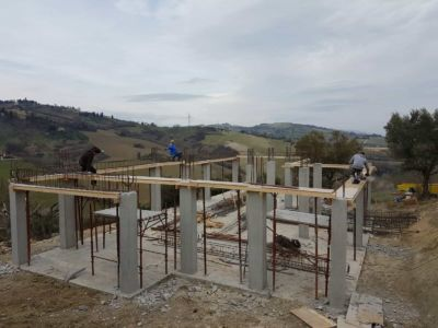A little unsteady on the framing of a new house construction in Le Marche