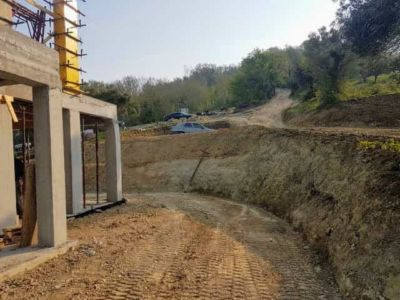 Slope and Grade on South Side of a new house being built in Le Marche Italy