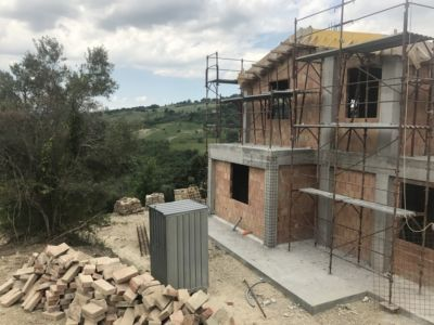 South Side of a new house being built in Le Marche, Italy