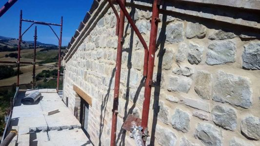 South Side Complete of a new house being built in Le Marche