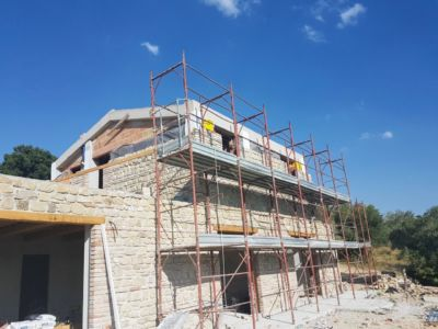 Stone Near Completion on Back of a new house being built in Le Marche