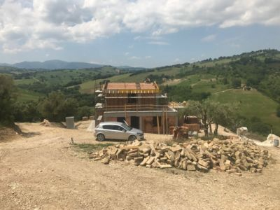 Stone for the Walls of a new house being built in Le Marche, Italy