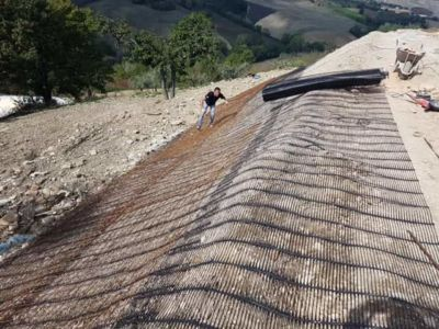 Terra Armata Material in Place at the site of new construction in Marche