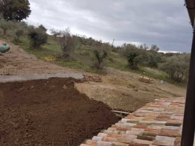 Topsoil in Front of Retaining Wall in front of a new house being built in Le Marche, Italy