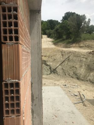 Wall Ready for Exterior Finishing  at site of a new house being built in Le Marche, Italy