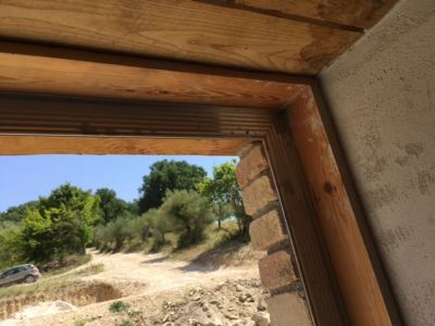 Window Frame and Driveway at a new house being built in Le Marche, Italy