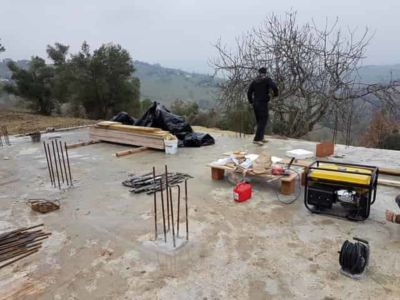Getting the Tools Ready at new house construction site in Le Marche